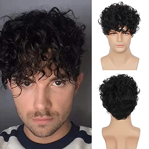 Peluca negra para hombre peluca corta y rizada para hombre pelucas de pelo sintético para Cosplay pelucas de fiesta de disfraces de Halloween resistentes al calor