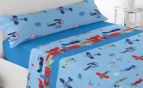 Energy Colors Textil Hogar - Junior - Cama 90 Juego Sábanas 3 Piezas 50% Algodón y Otras Fibras (Aviones)