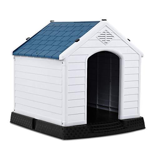 COSTWAY Hundehütte Kunststoff Hundehaus Plastik für Garten, Drinnen und Draußen, Hundehöhle mit Erhöhtem Boden, Hundekisten blau und weiß (70x65x71,5cm)
