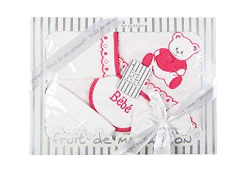 Coffret parure de bain naissance 5 pcs (Blanc fuschia ours)