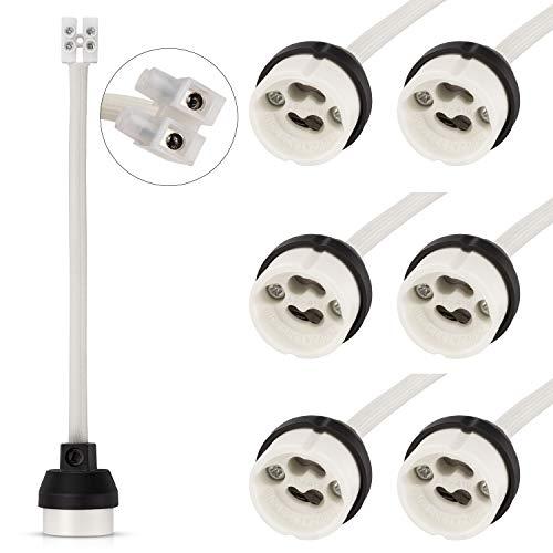 DiCUNO GU10 Support de lampe, 0.75mm² 15CM/150MM fil, GU10 Connecteur base en créramique pour ampoule GU10, 0-250V, 2A, 6 Paquets