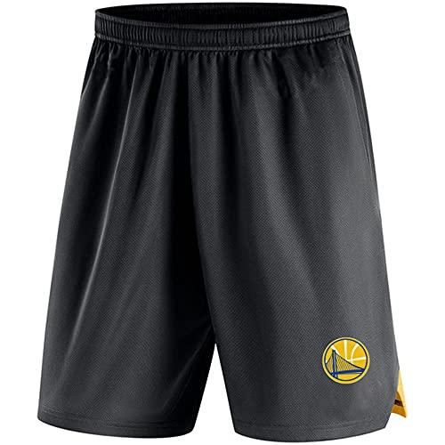 BMSD NBA Shorts Warriors Jersey Hombre Negro Pantalones de Baloncesto Casuales Pantalones Cortos Deportivos, 3XL