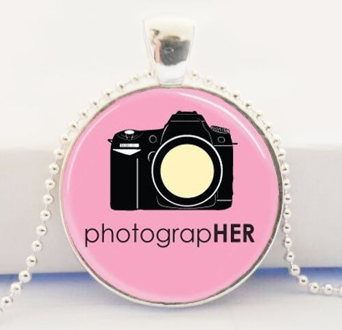 Joya de la cámara para los fotógrafos Rosa fotógrafo Collar Cuadro Cúpula de Cristal Colgante