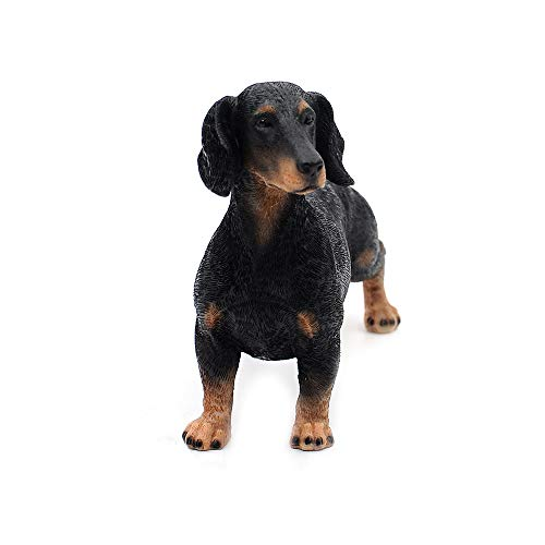 """Comfy Hour Doggyland Collection, Miniature Dog Collectibles 7"""" Standing Dachshund Dog Figurine, Realistic Lifelike Animal Statue Home Decoration, Black, Polyresin"""