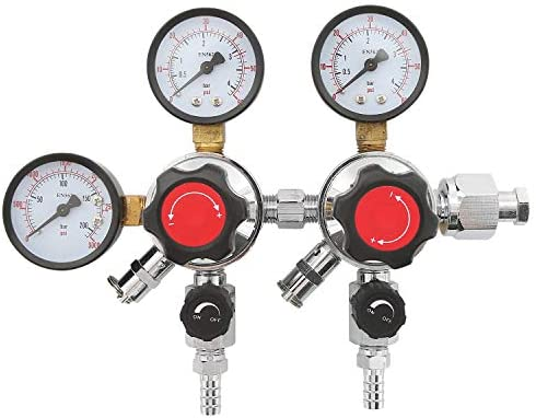 HYDDNice 2 Stage CO2 regulator Dual Pressure Beer Gauge CO2 Regulator 0 60 PSI Working Pressure product image