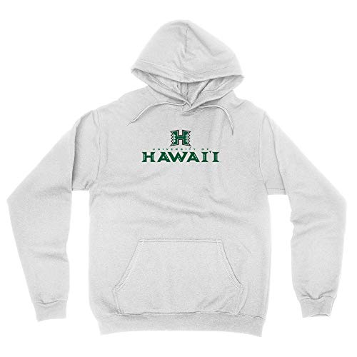 Venley Official NCAA University of Hawai'i Rainbow Warriors Men's / Women's Boyfriend Hoodie PPUHAW03 - White, XL