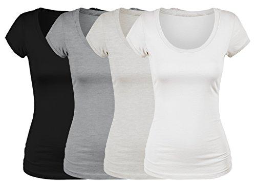 Emmalise Women's Short Sleeve Tshirt Scoop Neck Tee Value Set (4Pk, Bk, Wh, HGry, Oat, Large)