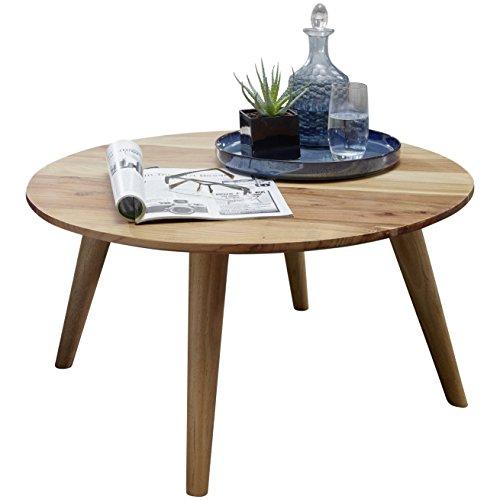 Wohnling Couchtisch BOHA Massivholz Akazie, Wohnzimmertisch rund Ø75 x 40 cm, Beistelltisch mit 4 Beinen aus Naturholz Landhaus-Stil, Wohnzimmer-Möbel aus massivem Echtholz, Design Kaffeetisch modern