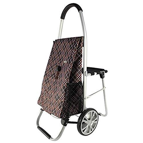 LXCS Portable Domestica Trolley, drogheria Carrello, Piccolo Carrello Pieghevole Carrello, con Sedile Trolley Trailer (Color : B)