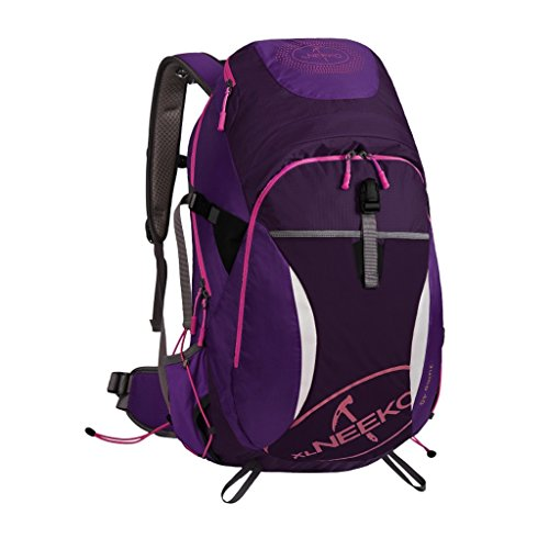 AMOS Bolso de alpinismo Hombro hombres y mujeres de gran capacidad 40L viaje al aire libre mochila paquete senderismo reflexivo ( Color : Morado oscuro )