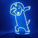Cute Dog Dabbing 3D Mesita de noche Lámpara USB Cambio de color Luz de noche Decoración de dormitorio para niños LED Night Light Dog Dab