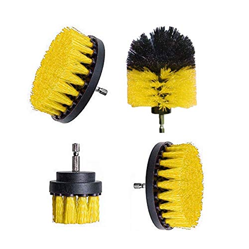 Greatangle-UK 4-teiliges elektrisches Bohrbürsten-Kit Kunststoff-Rundreinigungsbürste für Teppichglas Autoreifen Nylonbürsten Power Scrubber Drill Yellow