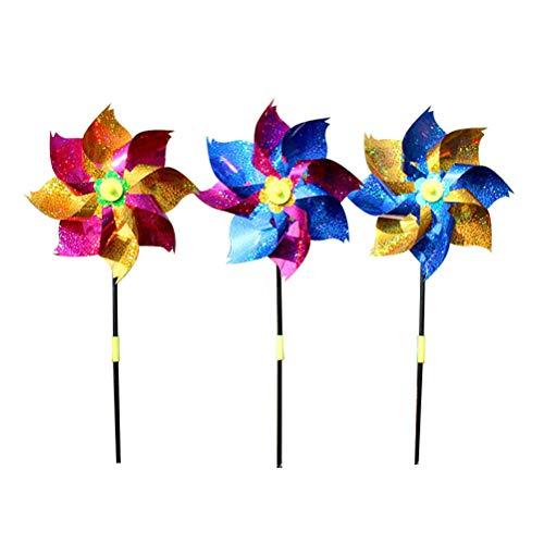 STOBOK 8 stücke Bunte Glitter Kunststoff Windmühle Windrad Pailletten Wind Spinner Kinder Spielzeug Garten Rasen Party Decor (zufällige Farbe)