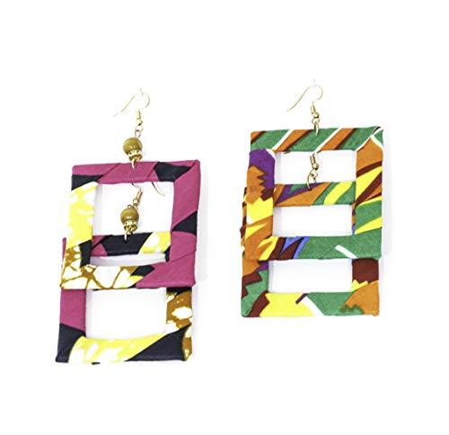 Pendientes de diseño de tejido wax africano, 100% algodón, hechos en Francia, verde, rosa, naranja. Joya colorida elegante hecha a mano, idea regalo original para mujer Boutique Mansaya