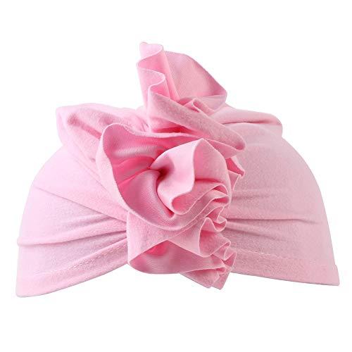 iKulilky - Gorro Turbante para bebé recién Nacido, de algodón Suave, con Capucha, Gorro para bebé Rosa Rosa. tamaño único