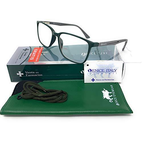 Gafas de lectura unisex, presbicia, vista cansada, Diseño en 3 Colores. VENICE Steel - Dioptrías: 1 a 3,5 (Verde-Gris, 1,00)