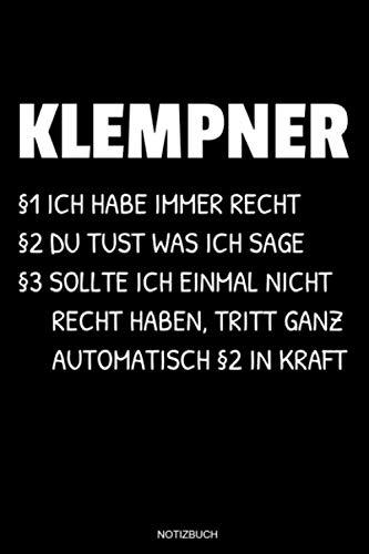 Klempner: Klempner Notizbuch für...