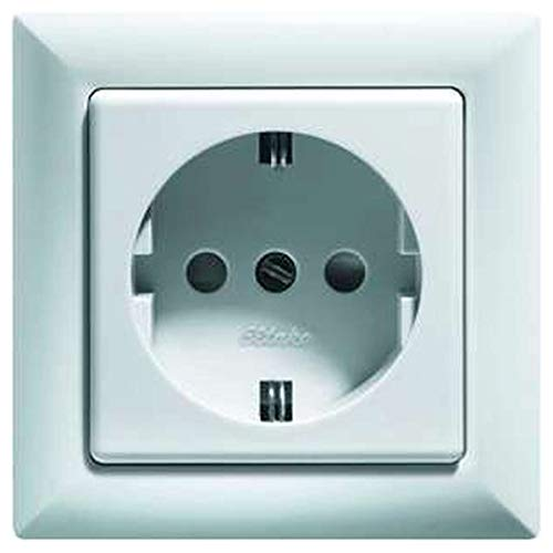 Eltako Schutzkontakt-Steckdose mit Steckdosenoberteil, 1 Stück, reinweiß glänzend, DSS+SDO55-WG