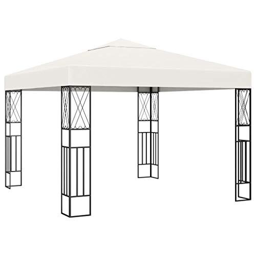 Lechnical Pavilion garden pavilion waterproof UV protection garden tent sun protection for garden market camping weddings metal struts 3 × 3 m Cream fabric