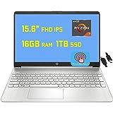 """2021 Flagship HP Laptop 15 Business Laptop Computer 15.6"""" Diagonal FHD IPS Touchscreen AMD 8-Core Ryzen 7 4700U (Beats i7-10710U) 16GB RAM 1TB SSD USB-C WiFi Win10 + iCarp HDMI Cable"""
