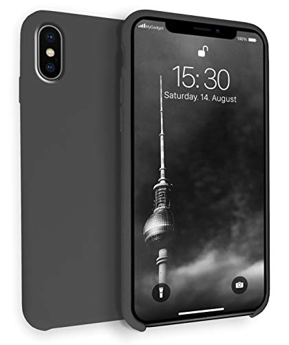 MyGadget Hülle Gummiert für Apple iPhone XS/X - Schutzhülle Hülle mit Soft Touch Silikon Finish - Slim Schutz Handyhülle Cover Stoßfest in Pastell Schwarz