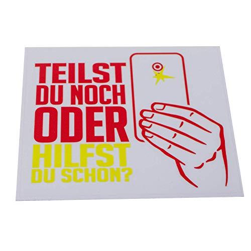FIRE & FIGHT Streetwear TEILST DU NOCH ODER HILFST DU SCHON? - Aufkleber 12 x 14 cm rot/gelb