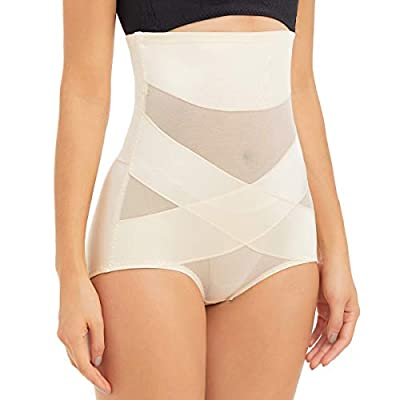 PAUKEE Women Shapewear Slimmer Body Shaper Hi-Waist Tummy Control Compression Butt Lifter Panties Girdle Beige