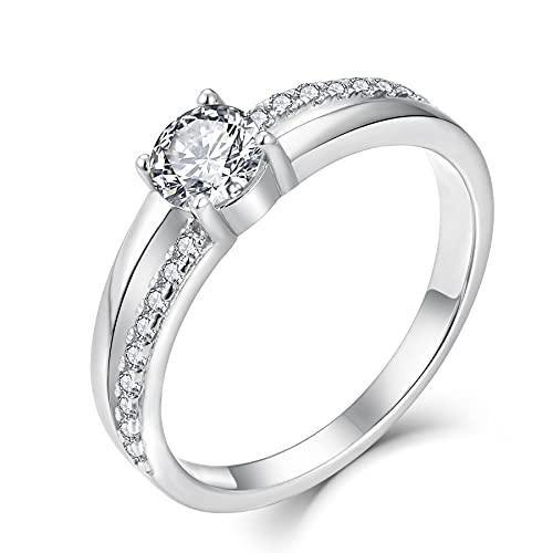 YL Verlobungsring Ehering 925 Silber Damen Ring Zirkonia Silberringe Trauringe Hochzeitsringe Antragsring Ringe.Größe 54