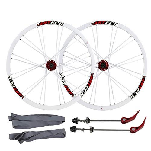 CHICTI 26 Pulgadas Ciclismo Wheels, Double Wall Ultra Ligero V-Brake Rodamiento Sellado para 8/9/10/11 Velocidad Deportes (Color : C, Size : 26inch)