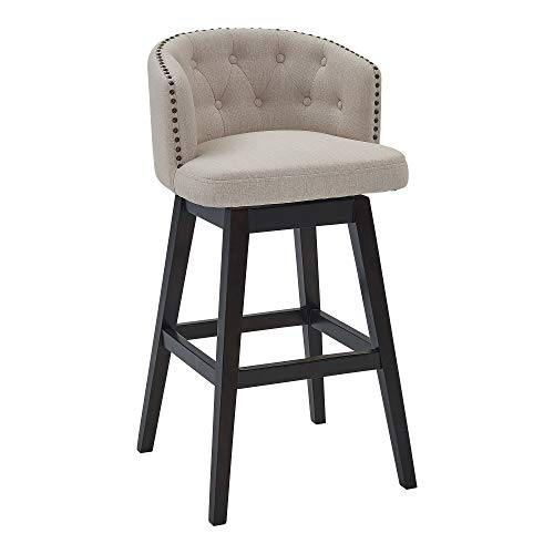 """Armen Living Celine 26"""" Counter Height Wood Swivel Tufted Barstool in Espresso Finish with Tan Fabric"""