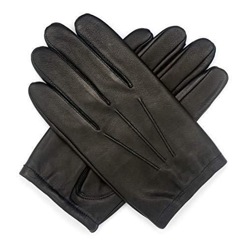 Harssidanzar Touchscreen per guanti da polizia in pelle sfoderata da uomo GM031EU,Nero,taglia L