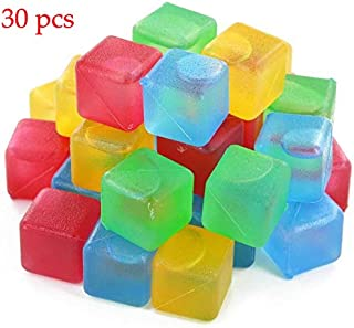 Reusable Ice Cubes, Plastic Squares for Drinks Like Whiskey, Wine or Beer, To Keep Your Drink Cold Longer. Filled With Pure Water. Comes In Assorted Colors.