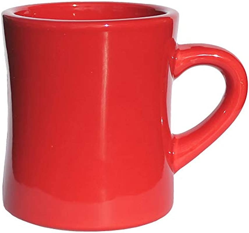 ITI Ceramic Diner Coffee Mugs With Pan Scraper 10 Ounce Single Unit Red