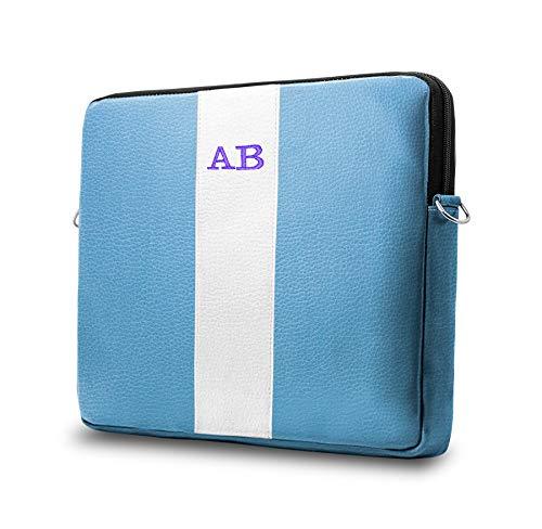 b-Kover Funda Protectora para Portátil 13 Pulgadas Personalizada con Tus Iniciales, Impermeable, Cuero Vegano, Hecha A Mano, MacBook Pro13/Dell/Asus/HP/[Azul Y Blanco]