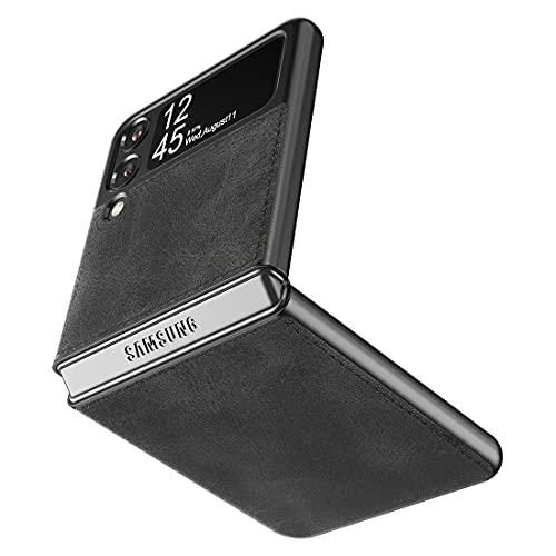 Cresee Kompatibel mit Samsung Galaxy Z Flip 3 5G Hülle, PU Leder Back Cover + Hard PC Schutzhülle Thin Fit Handyhülle für Galaxy Z Flip3 2021, Schwarz