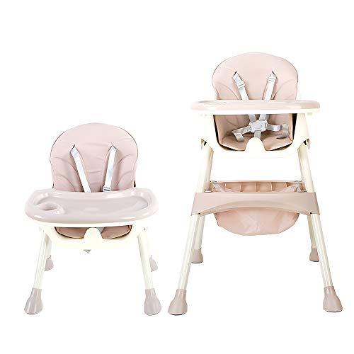 YEALEO Trona para bebé, con cinturones de seguridad de 5 puntos, bandeja extraíble, trona ajustable en altura, Silla de comedor fácil de montar para niños y niñas (Rosa)