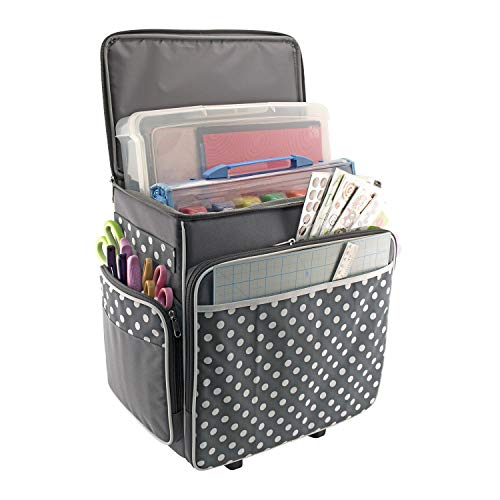 Everything Mary Grey Polka Dot Rolling Scrapbook Storage Tote - Scrapbooking Storage Case for Rings, Paper, Binder, Crafts, Beads, Paper, Scissors - Telescoping Handle with Dual Wheels - Craft Case