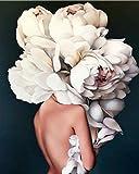 nobrand Cuadros para Pintar por Numeros Mujer abstracta DIY adulto pintura al óleo digital lienzo set regalo de vacaciones creación de arte hecho a mano-Sin Marco 60X75Cm
