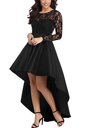 Bdcoco Women's Floral Lace Hi Low Cocktail Party Dress Swing Prom Evening Gowns Black