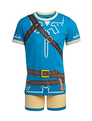 Nintendo Herren Videospiel Charakter Boxershorts Unterwäsche und T-Shirt Set - Blau - Small