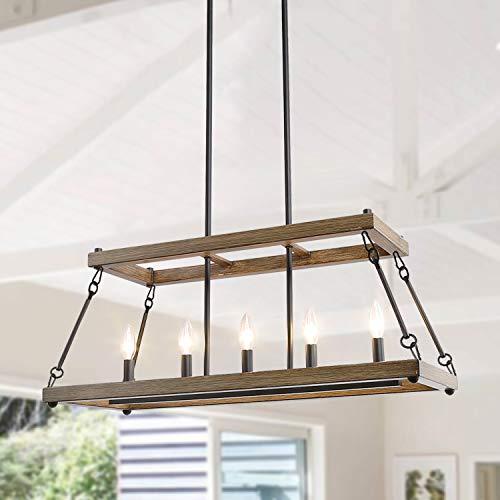 LALUZ Smart Farmhouse Chandelier, Faux Wood Metal Light Fixture for Dining Room, Kitchen Island,...