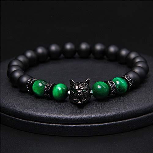 Save a Wolf Bracelet, Lava Rock Bracelet, Viking Wolf Head Bracelet Gifts Jewelry for Men Women (B)