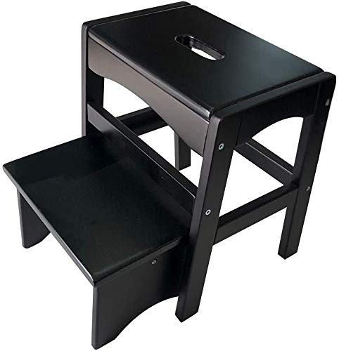 TZSMJT Marke Kinder Fußbank, Klappleiter Hocker Multifunktions-Pedal Hocker Startseite ändern Schuhmöbel, Massivholz, 4 Farben, hohe 41CM J5T0D9 (Farbe : Schwarz)