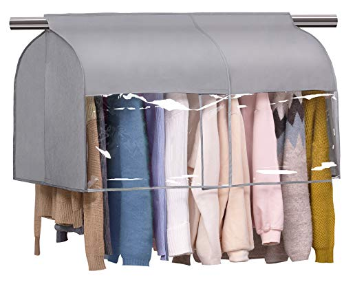SLEEPING LAMB Expandable Hanging Closet Cover Clothes Rack Protector Coats Suits Shoulder Dust Cover Bag, Grey