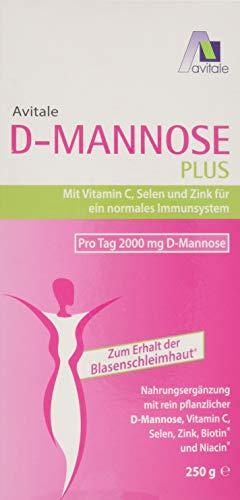 Avitale D-Mannose Plus Pulver mit Niacin und Biotin zur Förderung der Blasenschleimhaut, 250 g