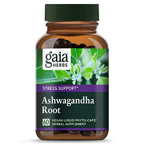 Gaia Herbs Ashwagandha Root, For Stress Relief, Immune Support, Balanced Energy Levels and Mood Support, Vegan Liquid Capsules, 60 Count