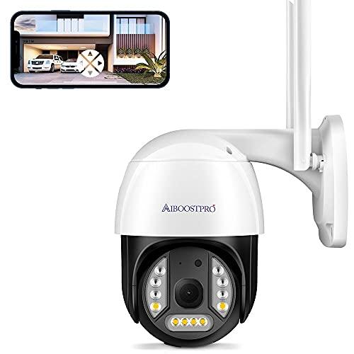 Camara Vigilancia Wifi Exterior, AIBOOSTPRO Camaras de Vigilancia, 3MP Cámara de Vigilancia Exterior con PTZ, Visión Nocturna, Detección de Movimiento, Audio Bidireccional, Crucero Automático