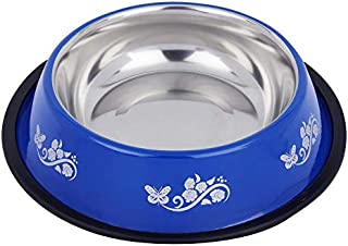 Naaz Pet Anti Skid Bowl for Feeding Dogs Cats and Pets Printed (Blue, 450ml, Small)