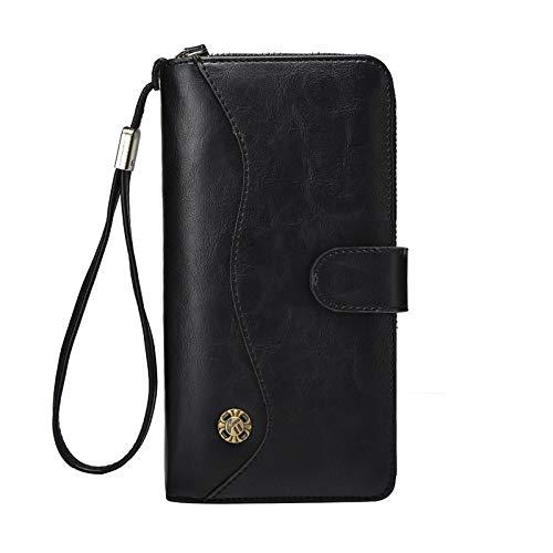 HANGYIKJ Herrenbrieftasche Lässige Mode Lange Brieftasche Tasche Weiches Leder Handtasche Große Kapazität Kartenhalter Brieftasche Multifunktions Brieftasche Schlanke Retro Schnalle