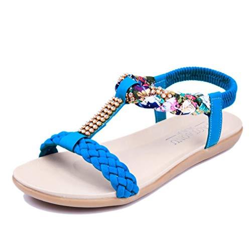 Sandalias Bohemias para Mujer Peep Toe Rhinestone Decoración Color sólido Tejido PU Banda elástica Plana Ligera Playa Verano Señoras T-Bar Sandalias